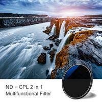 K & F CONCEPT 2-in-1 Ultra Clear 72 mm Neutralfilter ND8 Zirkular polarisierender CPL-Filter fuer DSLR-Kameraobjektiv Wasserdicht kratzfest
