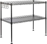 ONVAYA® Mikrowellenregal | schwarz | Stehendes Küchenregal aus Metall | Standregal für die Arbeitsfläche