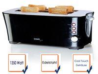 Design Langschlitztoaster in schwarz für 4 Scheiben - Toster mit Auftaufunktion