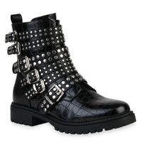 Damen Schnürstiefeletten Gefütterte Stiefeletten Zipper 831653 Trendy Neu