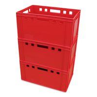 3 x Eurofleischerkiste Vorratsbox E3 Kiste Behälter Gemüsekiste stabelbar Farbe rot (3xE3 rot)
