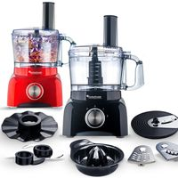 TurboTronic / Food Processor / 1,2L mini small / rot / Küchenmaschine mit Mixer, Raspelscheiben, Zitruspresse, Zerkleinerer, Julienne