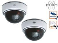 2er Set Dome Kamera Attrappe weiß LED Blitzlicht - Fake Dummy Überwachungskamera