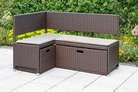 Merxx Unterschiebbox klein für Eckbank Set - Stahlgestell mit Kunststoffgeflecht braun - 28824-210