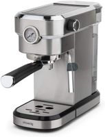 Manuelle Expresso Kaffeemaschine, 1350 W, italienische Druckpumpe, 15 bar, 1,1 Liter, Barometer, Edelstahl. H.Koenig EXP820