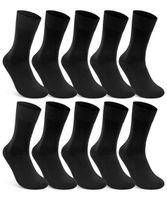 10 Paar Damen & Herren Socken 100% Baumwolle ohne Naht ohne Gummidruck Schwarz 39-42