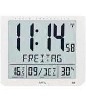 AMS 5886 Wanduhr Tischuhr Funk Funkwanduhr digital weiß Datum Thermometer Wecker