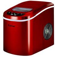 COSTWAY Eiswuerfelmaschine Eismaschine Eiswuerfelbereiter inkl. Eiswuerfelschaufel (2 Eiswuerfelgroessen, 12kg in 24 Stunden) Rot