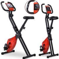 Magnetische Heimtrainer Fitnessfahrrad Hometrainer klappbar mit gepolstertem Sitz und LCD-Konsole Fitness Weight Loss Rot