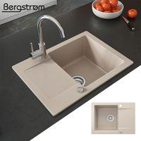 Bergström Spüle Küchenspüle Einbauspüle Spülbecken Granit Beige 577x418mm