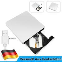 Externes DVD Laufwerk USB 2.0 Slim CD DVD-RW Brenner für PC Laptop Apple Mac Book
