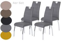 4er Set Vierfußstuhl Susi - Kunstleder Grau - Metallgestell Chrom - Bügelgriff - Belastbarkeit ca. 120kg