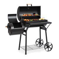 Klarstein Beef Brisket Smoker Grill - Holzkohlegrill/Smoker, rostfreie Grillroste aus Edelstahl, Thermometer im Deckel, 2 große Räder, ideale Wärmespeicherung, schwarz