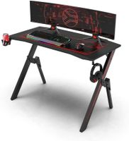 Dripex Gaming Tisch, Schreibtisch Gaming mit Großer Oberfläche, R-förmiger Stabiler Bein und Kohlefaser-Desktop, mit Getränke-, Gamepad- und Kopfhörerhalter, 110x75x55cm, Schwarz