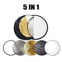 Selens 5-in-1 110cm Rund Fotografie Faltreflektor Set Tragebar Diffusor Gold, Silber, Weiß, Schwarz und Transparent Reflektor