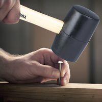 61000 Black Rubber Mallet Dual Face Fliesenhammer mit Holzgriff