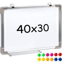 tectake Magnettafel inkl. 12 farbigen Magneten - 40 x 30 x 2 cm