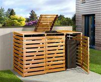 Holz Mülltonnenbox Weka honigbraun für 3 Mülltonnen