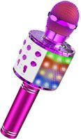 Karaoke Mikrofon Bluetooth für Kinder, Mikrofon Karaoke Kabellos mit LED Licht, Kompatibel mit iPhone & Android, Karaoke Maschine für Zuhause KTV/Outdoor Party/Kinder Singen, mit Aufnahme