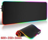 600 *350*3mm RGB Leuchtendes Mauspad Leuchtendes Mauspad LED RGB Gaming Mauspad Grosses Mauspad Gamer Led Computer Mousepad Grosse Mausmatte mit Hintergrundbeleuchtung Teppich Fuer Tastatur Schreibtisch