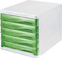 helit Schubladenbox 5 Schübe weiß/grün transparent