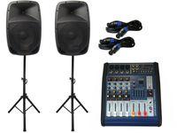 PA-SET 6 Powermixer Pa Anlage DJ 2 Wege 25 cm Lautsprecher Boxen USB Stativ