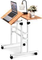 COSTWAY Mobiler Laptoptisch Stehpult, Verstellbarer Computertisch mit höhenverstellbar & kippbarer Oberfläche, Stehtisch Workstation mit Rollen Laptoptisch für Zuhause Büro