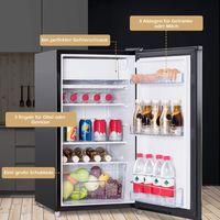 GOPLUS Kühlschrank mit Gefrierfach Vollraumkühlschrank Mini-Kühlschrank Kühl-Gefrier-Kombination Tischkühlschrank Farbewahl 91L (Schwarz)