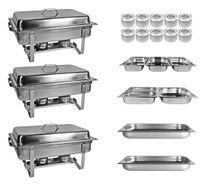 Profi SET 33xTlg 3x Chafing Dish 8x GN 10x Brennpasten Warmhaltebehälter