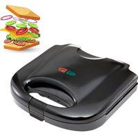 Ultracompact Sandwichmaker 850 Watt Sandwichtoaster Antihaftbeschichtete abnehmbare Platten Cool Touch Griffe BPA frei schwarz