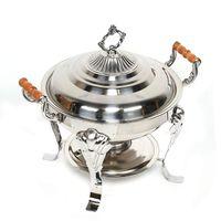 3 L Ø 30 cm Speisenwärmer Buffetwärmer Set Runde Chafing Dish mit Alkoholofen Wärmebehälter Speisenbehälter  Edelstahl mit Deckel