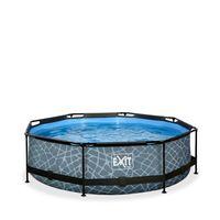 EXIT Stone Pool ø300x76cm mit Filterpumpe - grau