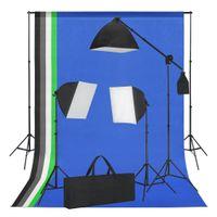 vidaXL Fotostudio-Set mit Softbox-Leuchten und Hintergründen