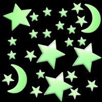 120 Stück Leuchtsterne Leuchtmond selbstklebend für deinen Sternenhimmel fluoreszierend Leuchtaufkleber im Dunkeln leuchtende Sterne