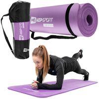 Hop-Sport Gymnastikmatte 1cm  - rutschfeste Yogamatte für Fitness Pilates & Gymnastik mit Transporttasche - Maße 180cm Länge 61cm Breite - lila