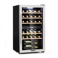 Klarstein Vinamour 29D Weinkühlschrank - Kompressionskühler, 2 Zonen, Volumen: 80 Liter, 29 Flaschen, Kühltemperatur: 5-22 °C, , 41 dB, Panoramafenster, schwarz