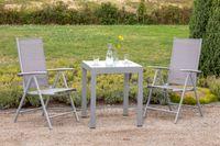 "Merxx Gartenmöbelset ""Amalfi"" 3tlg. - Aluminiumgestell mit Textil diamantbraun  - 50352-330"