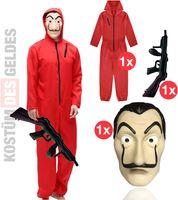 Kostüm Set des Geldes Verkleidung Haus für Herren Fasching, Karneval mit Maske, Overall (- ohne Kaputze) und Maschine