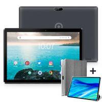 Tablet 10.1 Zoll Android 10.0 3G-Handy-Tablets mit 32 GB Speicher, SIM-Kartensteckplatz, 8MP-Kamera, WLAN, Bluetooth, GPS, Quad-Core, HD-IPS-Touchscreen, unterstützt 3G-Telefonate schwarz, mit Rundumschutz Tablet-Schutzhülle