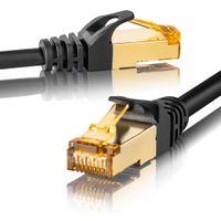 CAT 7 Ethernet Kabel Patchkabel Netzwerkkabel LAN Kabel 20m schwarz rund SEBSON