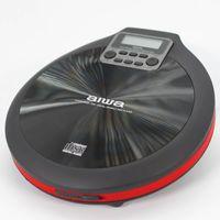 Aiwa PCD-810RD ROT Schwarz tragbarer CD/CD-R/MP3 Spieler, mit Earphones und Tasche, ESP, CD-Player, CD-Spieler, mobil, unterwegs, Musik, 120 Sekunden Anti Shock