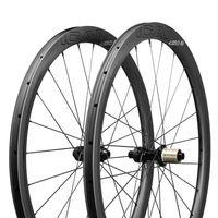 ICAN Carbon Laufräder AERO 40 Disc Rennrad Laufradsatz 40mm Drahtreifen Tubeless Ready Scheibenbremse 12x100 / 12x142mm Nur 1355g Weihnachtsgrüße Geschenk