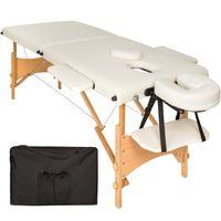 tectake 2 Zonen Massageliege mit 5cm Polsterung und Holzgestell - beige