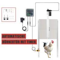 Crenex Hühnertür+Schieber Hühnerklappe Stallöffner mit Timer Hühner-Pförtner Automatisch mit 2 Fernbedienungen
