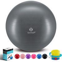 KESSER® Gymnastikball mit Luftpumpe Pumpe - Dicker Yogaball BPA-Frei | Sitzball Büro Anti-Burst, Farbe:Grau, Größe:65cm (für Körpergröße 155 - 175cm)