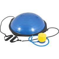GORILLA SPORTS® Balance Ball - Anti-Rutsch, Ø52 cm, mit Widerstandsbändern, bis 300 kg belastbar,  inkl. Handpumpe, Blau/Schwarz - Trainer Ball, Gymnastikball, Yoga, Balancetrainer