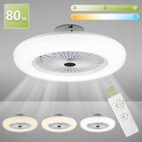 Karpal 80W Deckenventilator mit Beleuchtung, Einstellbare Windgeschwindigkeit und Farbtemperatur, Luefter-Deckenleuchte mit Fernbedienung Wohnzimmer Schlafzimmer Esszimmer Fan Lampe LED, 2700K-6500K