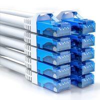 deleyCON 10x 0,5m CAT6 CAT6 Netzwerkkabel Set - U-UTP RJ45 CAT-6 LAN Kabel Patchkabel Ethernetkabel DSL Switch Router Modem Repeater Patchpanel - Weiß