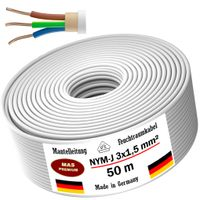 Feuchtraumkabel Stromkabel Mantelleitung 50m NYM-J 3x1,5 mm² Elektrokabel