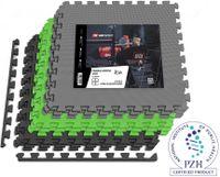 Hop-Sport Puzzlematte 9er Set - Unterlegmatte für Fitnessgeräte als Rutschfester Bodenschutz - Größe 60 x 60 x 1 cm -  Schwarz/Grau/Grün